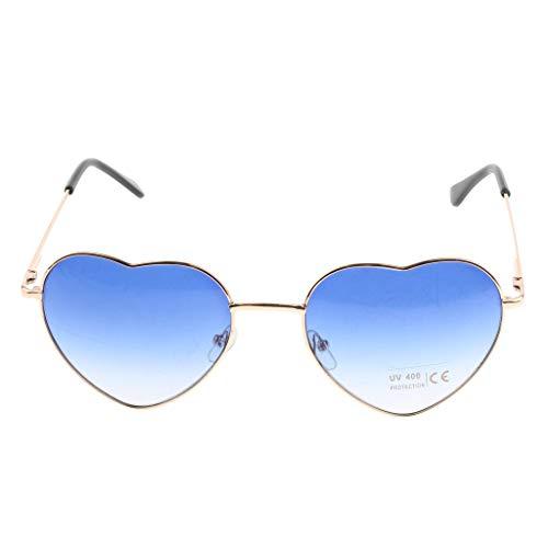 Soirée Cadre Femmes De Forme Lunettes Paire Soleil 1 Coeur En Magideal Bleu Métal Cadeau qw7SZZ