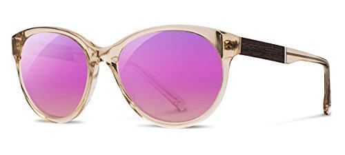 Shwood - Madison Acetate, Sustainability Meets Style, Champagne/Ebony, Rose Flash Polarized - Champagne Ebony