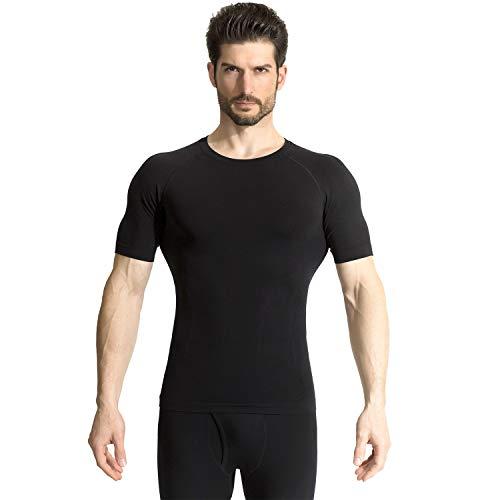 +MD Men's Short Sleeve Compression T Shirt - Workout Baselayer Shapewear Crew Neck XXLarge Black