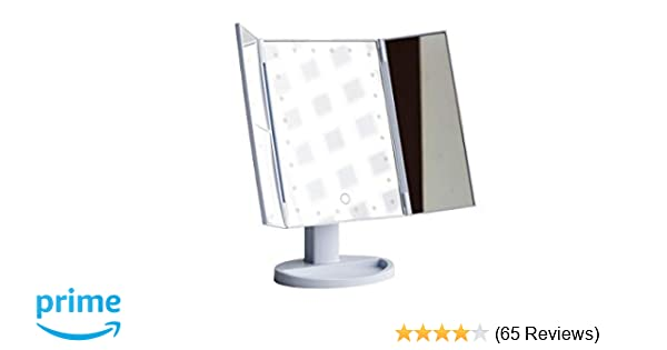 Makeup Vanity Mirror with 24 LED Lights (Touchscreen), Magnification (2X,  3X, 10X), Includes USB