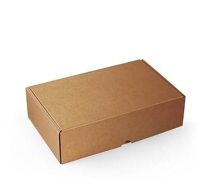 Caja rectangular automontable en cartón microcanal color kraft. La caja perfecta para tus envíos postales - S: Amazon.es: Hogar