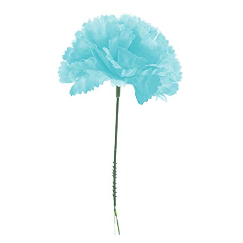 Royal Imports 100 lt Blue Silk Carnations, Artificial Fake Flower Bouquets, Weddings, Cemetery, Crafts & Wreaths, 5 Stem Pick (Bulk)