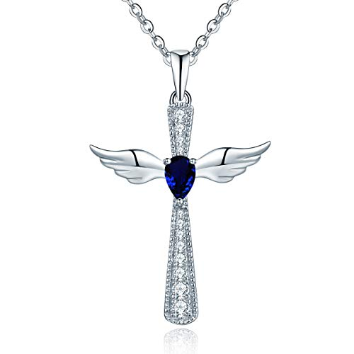 YL Women's Cross Necklace Sterling Silver Cubic Zirconia Angel Wings Crucifix Pendant Teardrop Created Sapphire Criss Jewelry
