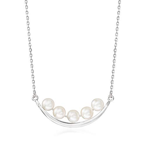 Ross-Simons 5.5-6mm Cultured Pearl Curved Bar Necklace in Sterling Silver