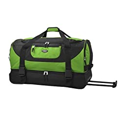 Travelers Club Luggage Adventure 30 Inch Multi-pocket Drop-bottom Rolling Duffel, Green, One Size
