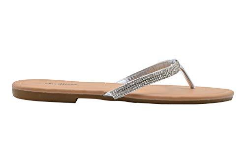 Chatties Ladies Fashion Sandals 6 M US Metallic Thong Slip On Flip Flops with Embellishments Silver