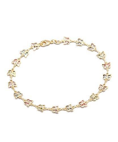 Barzel 18K Gold Plated Gold and Multi Color Crystal Baguette Anklet (ANK1187)