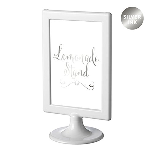Andaz Press Framed Wedding Party Signs, Metallic Silver Ink, 4x6-inch, Lemonade Stand Reception Dessert Table Sign, Double-Sided, 1-Pack, Colored Decorations]()