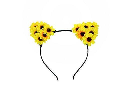 [HH Building Daisy Flower Cat Ear Handmade Headband Hairband Costume Headpieces (Yellow)] (Daisy Flower Headband Costume)