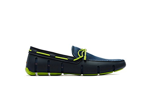 - SWIMS Braided Lace Loafer in Navy/Green, Size 8