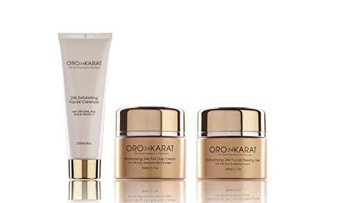 24K Gold Moisturizing Day Cream, Peeling Gel, Exfoliating Facial Cleanser Complete 3-Step Microdermabrasion & Moisturizing Treatment Anti-Aging Formulas with Vitamins, Antioxidants (1.7,1.7,4 Fl ()