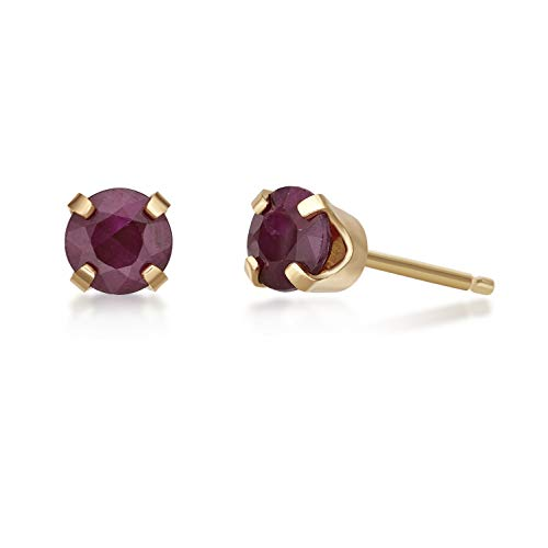 - .68 CT Round 4MM Red Ruby 14K Yellow Gold Women's Stud Birthstone Earrings
