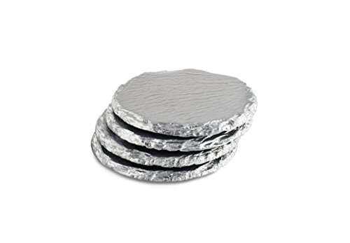 Renee Redesigns Handmade Silver Slate Stone Coasters For Drinks | Protect Your Table Tops From Drink Rings and Spills | Unique 4-Piece Holiday Gift Set, Round - 4 x 4 inches
