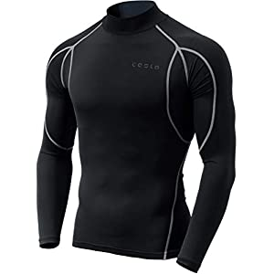 TSLA Men's Mock Long-Sleeved T-Shirt Cool Dry Compression Baselayer Top 19