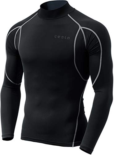 TM-MUT12-KLG_X-Small Tesla Men's Mock Long-Sleeved T-Shirt Cool Dry Compression Baselayer MUT12 ()