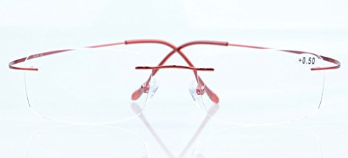 Eyekepper Titanium Rimless Reading Glasses Readers Women Red
