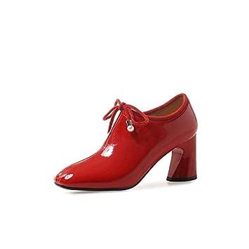 ZHZNVX Novedad para Mujer Zapatos de Charol Primavera y otoño Botas Vintage Tacón heterogénico Botines con Punta Cuadrada Bowknot Negro/Amarillo ...
