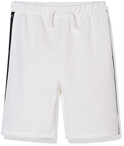 Kid Nation Kid's Fleece Pull On Athletic Short with Logo Taping Down for Boys and Girls XS White