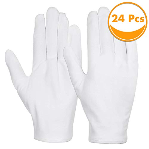 Cotton Gloves, Anezus 12 Pairs White Cotton Gloves Cloth Serving Gloves for Eczema Moisturizing Dry Hands Coin Jewelry Silver Archival Costume Inspection, Medium Size -