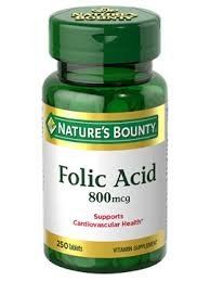 Nature's Bounty Folic Acid 800 mcg Tablets Maximum Strength 250 ea (Pack of 3)