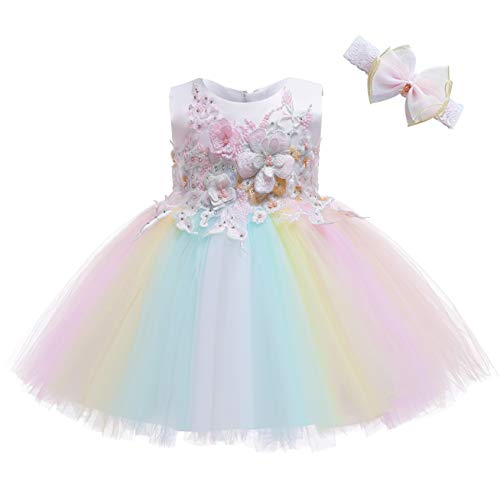 Weileenice Baby Girls Costume Cosplay Dress Rainbow Tulle 3D Embroidery Beading Princess Tutu Dresses (12 Months, Ivory/Rainbow(with Headband))]()