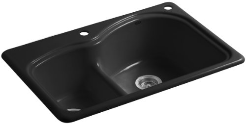 Woodfield Cast Iron Kitchen Sink - Kohler K-5839-2-7 Woodfield Smart Divide Self-Rimming Kitchen Sink with Medium/Large Basins and Two-Hole Faucet Drilling, Black Black