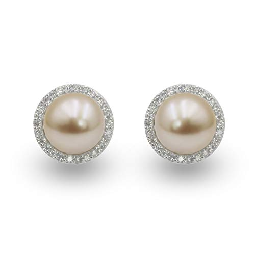 NEL Pink Platinum Plated Imitation Pearl with Cubic Zirconia Stud Earrings for Party, Meeting, Wedding Ceremony (Pink)