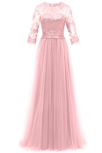 Charmeuse Lace Long Gown - DressyMe Women's 2018 Lace Wedding Dress Long Prom Party Gown Sleeves Tulle-17W-Pink