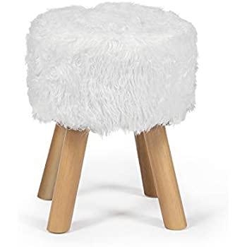 Edeco White Faux Fur Ottoman Chic Faux Furry Ottoman Small Round Ottoman Foot Stool with Wood Legs