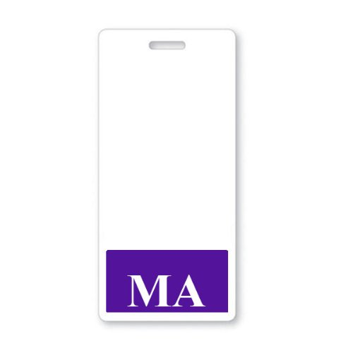 """Medical Assistant """"MA"""" Vertical Badge Buddy with Purple Border"""