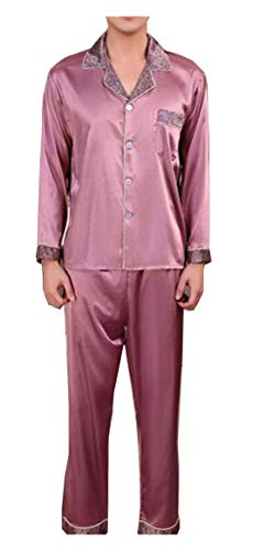 Respeedime Mens Ice Silk Pajamas Set Summer Autumn Long Sleeved Trousers 2 Piece Pyjamas Nightwear -
