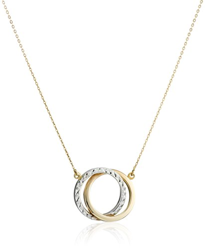 Two-Tone 14k Gold Interlocking Circle Pendant Necklace, 17