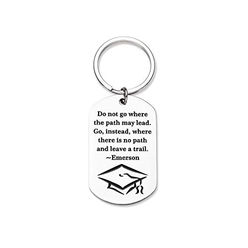 Inspirational Gifts Keychain First Day of School Gifts for Son Daughter Him Her Boys Girls Motivational Back to School Gifts from Dad Mom Emerson Quote Gifts Key Chain