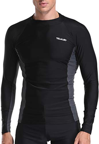 TELALEO Men's Long Sleeve Skins Rash Guard Swim Shirt Surf Water UV Sun Protection UPF 50+ -S