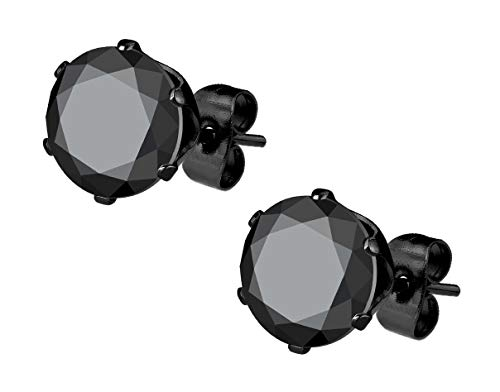 Stainless Steel Black IP Plated CZ Simulated Diamond Stud Earrings for Men (5mm)