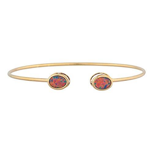 Opal Oval Bracelets (Black Opal Oval Bezel Bangle Bracelet 14Kt Yellow Gold Rose Gold Silver)