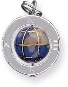 Enameled Globe Charm - Quality Gold Enameled Globe Charm, Sterling Silver