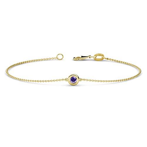- TriJewels Round Iolite 3mm Womens Solitaire Station Minimalist Bracelet 14K Yellow Gold