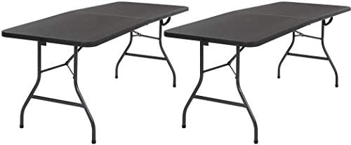 Cosco Deluxe 6 Foot x 30 inch Fold-in-Half Blow Molded Folding Table, Black, 2 Pack