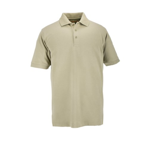 (5.11 Tactical Mens Short-Sleeve Professional Polo, Silver Tan, Small)