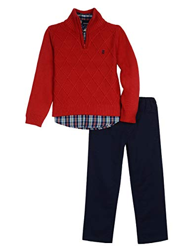 Izod boys 3-Piece Sweater, Dress Shirt, and Pants Set, Red Otto, 4T (3 Boys Piece Sweater Toddler)