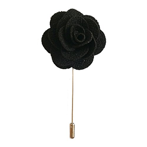 Sunny Home Men's Lapel Flower Stick Brooch Pin Boutonniere Pin for Suit Tuxedo Corsage (3.74in, Black)