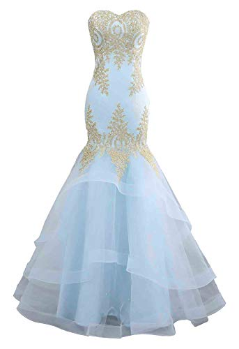 Changuan Mermaid Evening Dress for Women Backless Formal Long Prom Dresses with Embroidery Light Blue-2