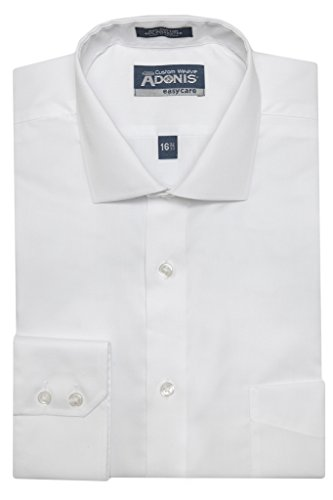 Mens Cotton Blend Easy Care White 'custom weave' Barrel Cuff Dress Shirt 34/35 Neck 20 IN (Barrel Cuff Dress Shirt)