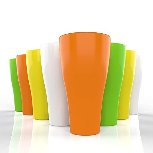 - Plastic Tumblers Drinkware Glasses Set – 17 oz – Set of 8 – Plastic Tumbler Set Large Reusable – Plastic Tumblers Dishwasher Safe Cups – Colorful Break Resistant Beverage Tumblers – Multicolor