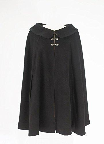 Black Wool Short Cape for Women (Circle Cut M-lg Fit) by Carpatina - Renaissance Fashions