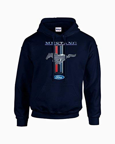 Navy Mustang - Ford Mustang Hooded Sweatshirt Mustang Pony Design-Navy-Large