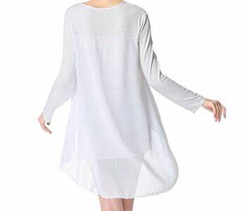 White Party Long Low Spliced Neck C Round Sleeve High Women's Flowy amp;H Dress cnTqvnwZS7