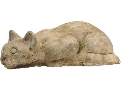 Athens Pouncing Cat Statue, Buff