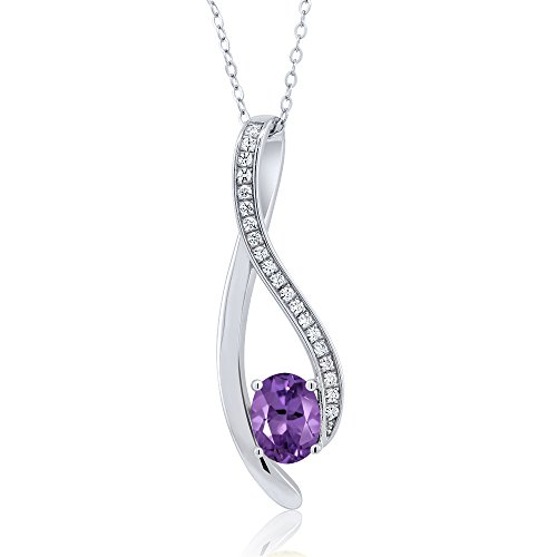 (1.5 Inch Oval Shaped Gemstone Infinity Pendant With White Zirconia & 18 Inch Chain)